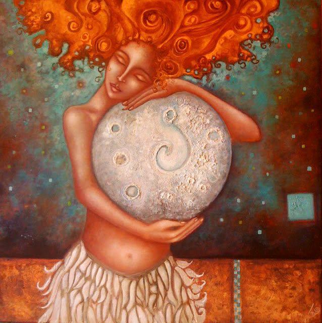 mujer con la luna